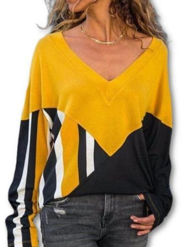 Loose Stripe stitching V collar long sleeve T-shirts