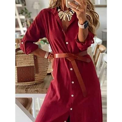 Fashion Fastener Long sleeve Skirt Maxi Dresses