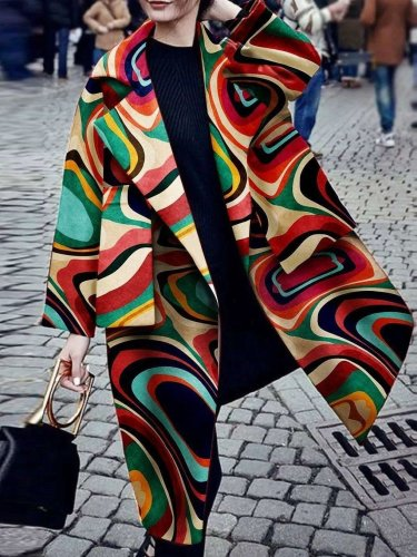 Fashion Turndown Collar Printed Colour Long Sleeve Pocket Coat