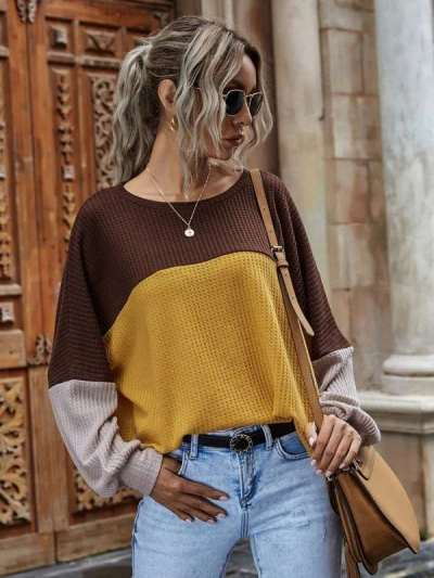 Fashion Casual Gored Round neck Long sleeve Knit Sweaters