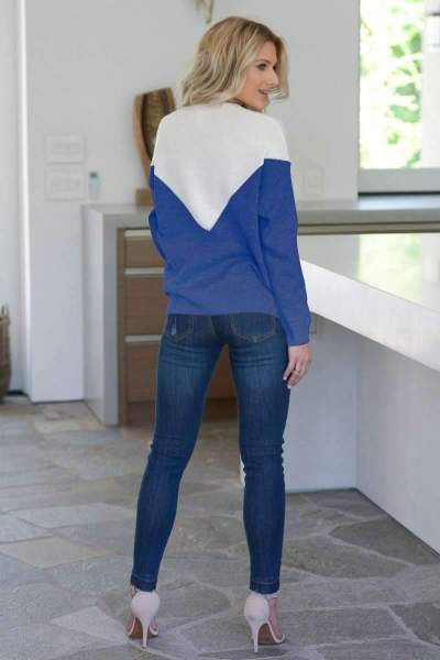 Casual V neck Gored Long sleeve Knit T-Shirts