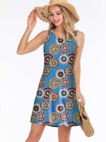 Fashion Sleeveless Print Vest Shift Dresses