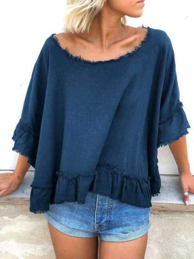 Casual Loose Pure Unedged Round neck T-Shirts