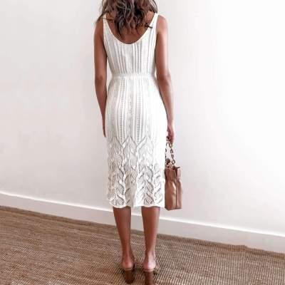Fashion Casual Pure V neck Vest Lace Hollow out Skater Dresses