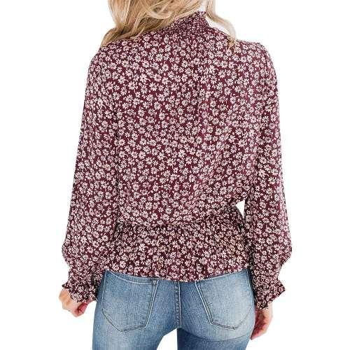 Fashion Casual Print High collar Long sleeve Falbala Blouses