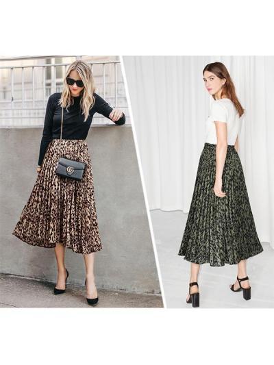 Women leopard printed long skirts