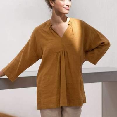Fashion Pure V neck Long sleeve Shift Dresses