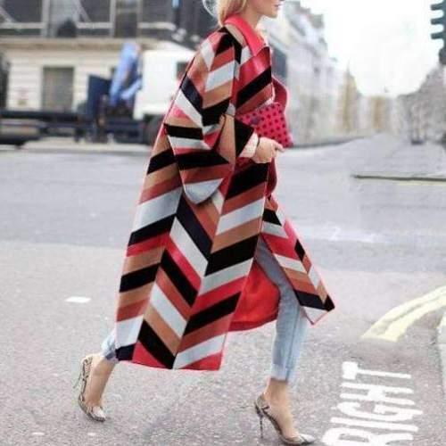 Fashion Casual Print Lapel Long sleeve Trench Coats
