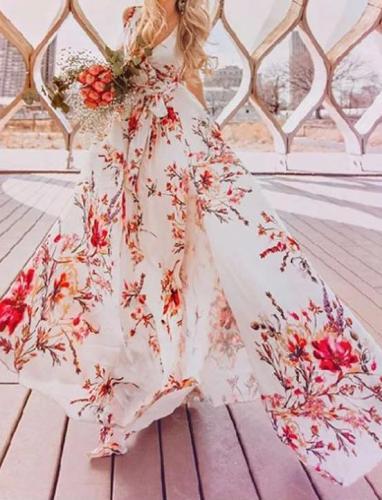 Bohemian Split Printing Deep V Neck Sleeveless Maxi Dresses