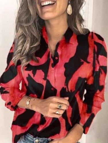 Fashion Print Lapel Long sleeve Blouses