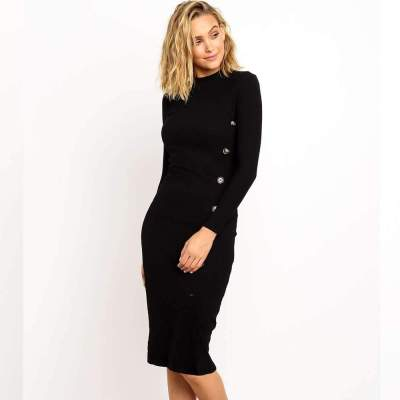 Sexy Pure Tee Round neck Long sleeve Bodycon Dresses