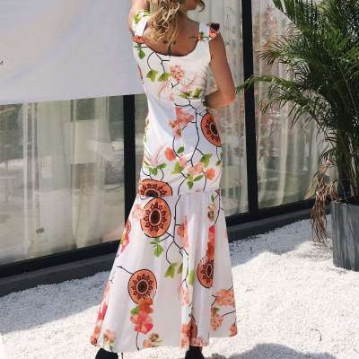 Sexy V neck Print Gored Vacation Dresses