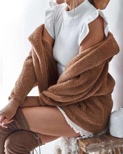 Loose Sexy Plush Pure Hoodies Coats