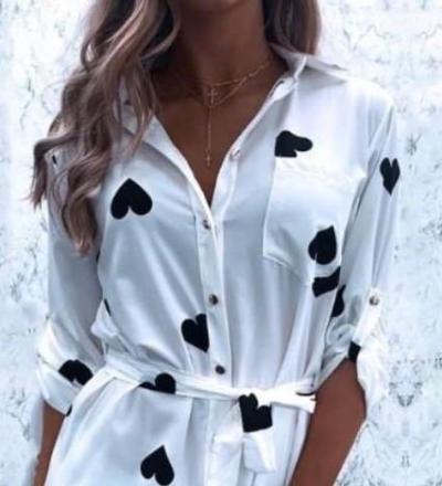 Fashion Print Lapel Long sleeve Lacing Skirt Shift Dresses