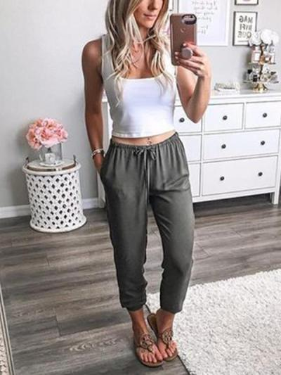 Casual Loose Women Thin Comfy Waist Tie Women Long Pants