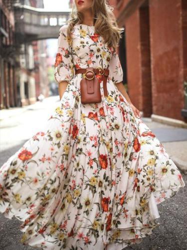 Bohemian printed round neck half sleeves skater maxi dresses