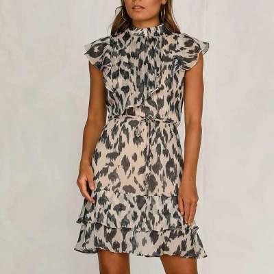 Fashion Leopard print Lacing Falbala Skater Dresses