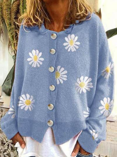 Chic Warm Daisy Single Breasted Casual sweaters Cardigans