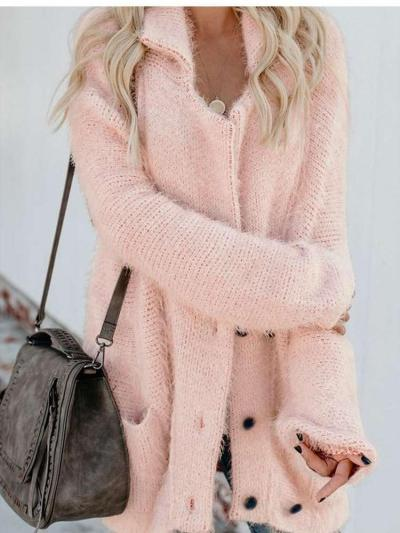 Fashion Casual Pure Knit Lapel Long sleeve Cardigan