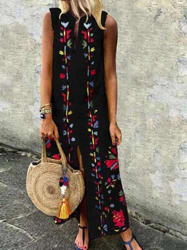 Casual Print V neck Sleeveless Maxi Dresses