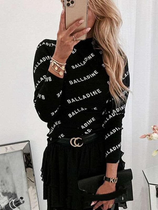 Fashion Word Print Long sleeve Round neck T-Shirts