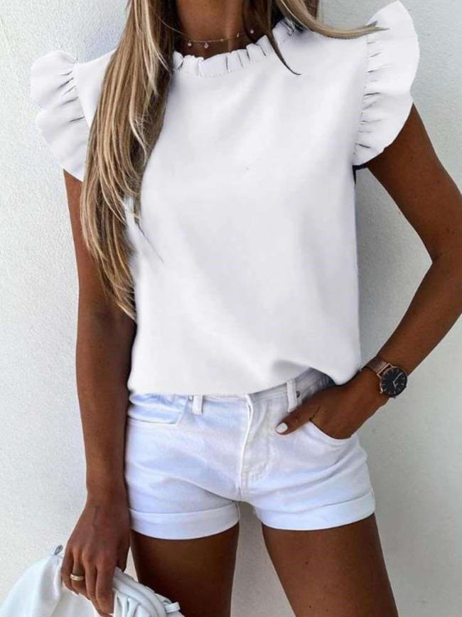 Fashion Pure Round neck Falbala Short sleeve Blouses