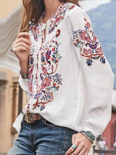 Women loose printed long sleeve bohemia style blouses