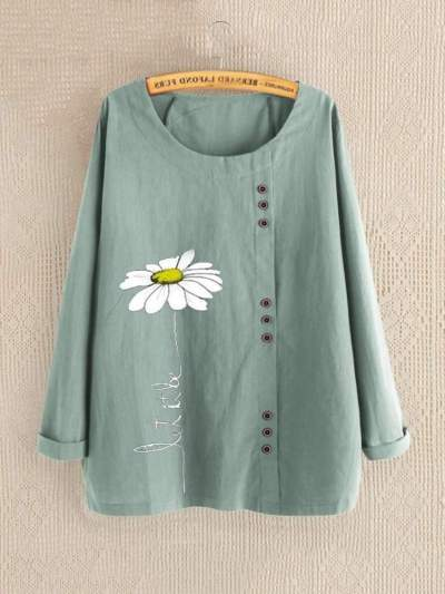Casual Loose Round neck Long sleeve Blouses