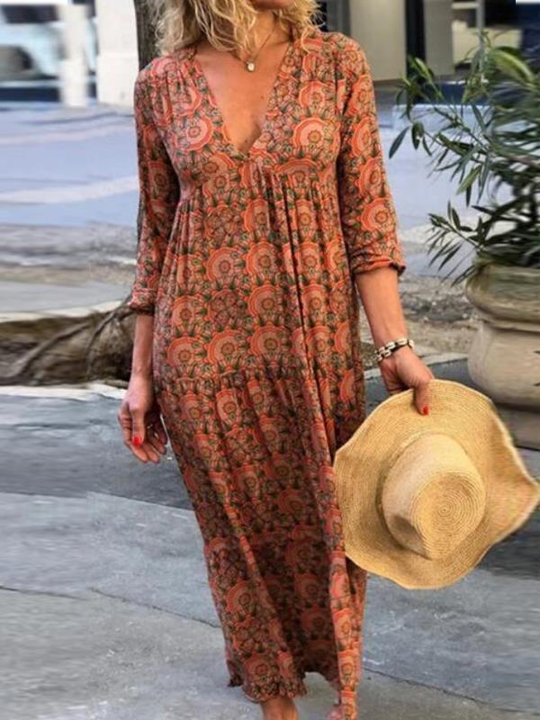 Vintage long sleeve v-neck vintage printed maxi dresses