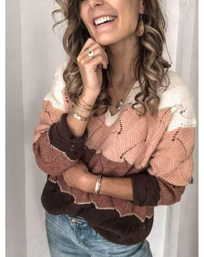 Casual Loose Gored V neck Hollow out Long sleeve Sweaters