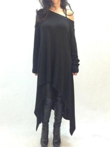 Off Shoulder Long Sleeve Plain Asymmetrical Hem T-Shirts