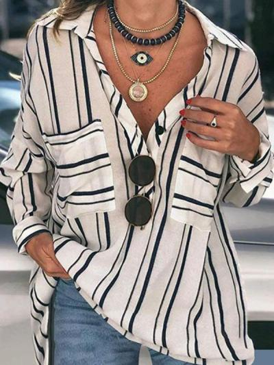 Striped Buttoned Down Plus Size Blouses Shirts