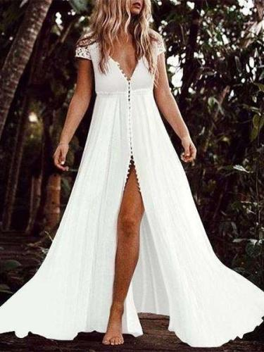 Sexy V neck Short sleeve Maxi Dresses