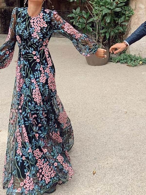 Elegant floral printed women backless long sleeve chiffon maxi dresses