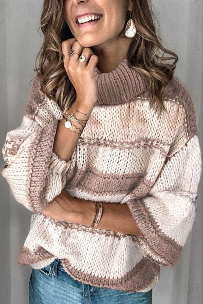 Fashion Casual Stripe High collar Long sleeve Knit Sweaters