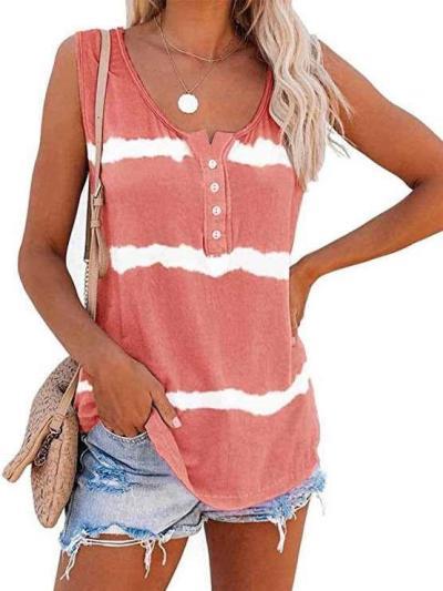 Casual Stripe V neck Sleeveless T-Shirts