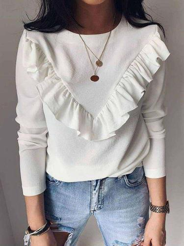 Fashion Pure Long sleeve Round neck T-Shirts