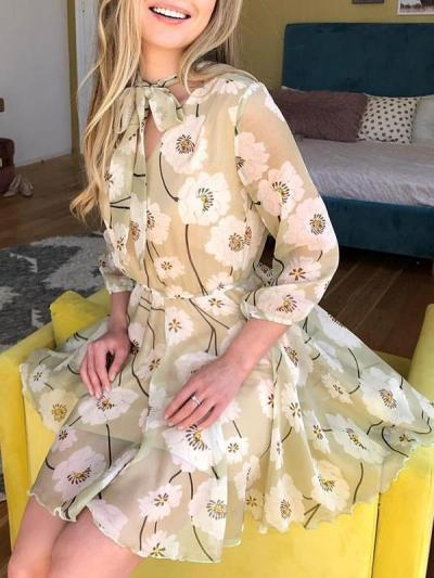 Sexy floral sexy long sleeve chiffon skater dresses