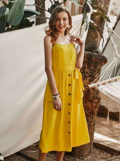 Fashion Pure Vest Fastener Backless Maxi Dresses