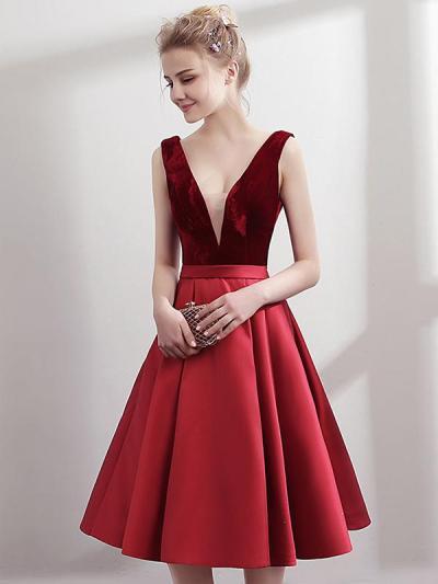Fashion Stitching Deep V Neck Sleeveless Sexy Elegant A-Line Evening Dresses