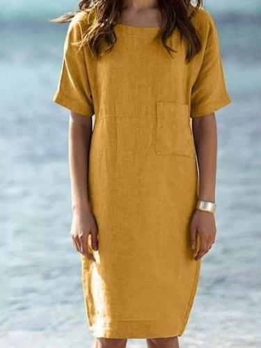 Casual Loose Pure Round neck Short sleeve Pocket Shift Dresses