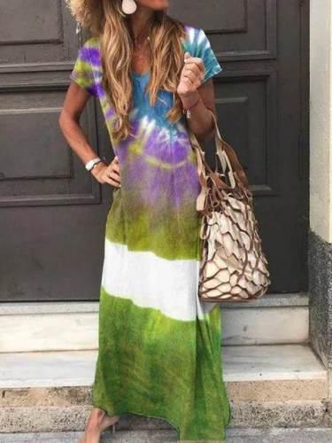 Fashion printed women v neck long maxi dresses