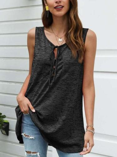 Casual Pure Sleeveless Round neck Lacing Long T-Shirts