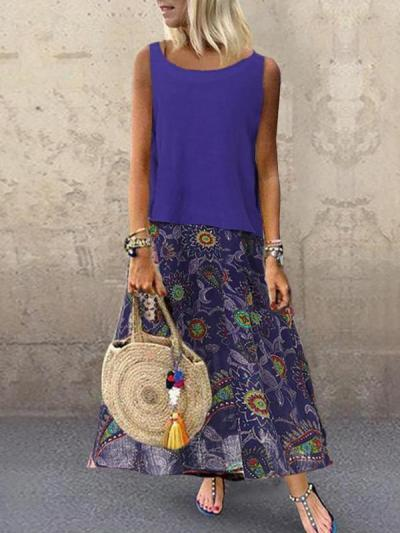 Casual loose women printed Sleeveless Maxi Dresses