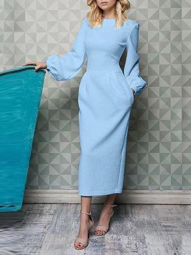 Long sleeve lantern sleeve round collar Pure Elegant  Bodycon Dresses