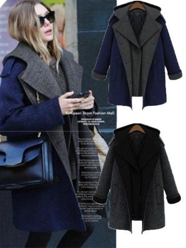 Fashion Woman Thick Pattern Long Winter Coat  Woolen Overcoat