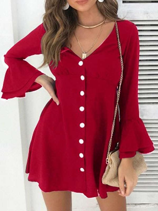 Pure V neck  Falbala Long sleeve  Fastener Shift Dresses