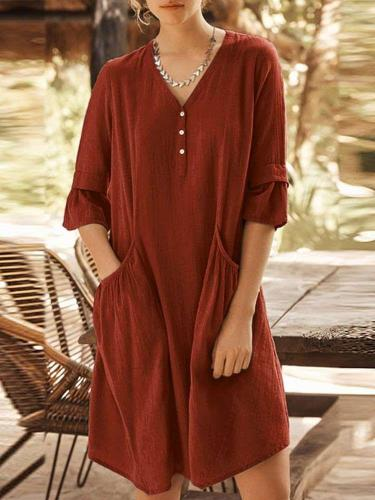 Fashion Casual Pure V neck Half sleeve Pocket Shift Dresses