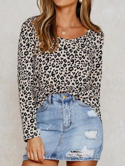 Round neck leopard printed long sleeve casual T-shirts