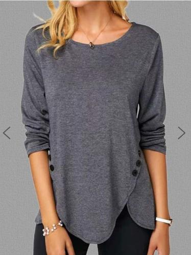 Pure Round neck Long sleeve Irregular T-Shirts